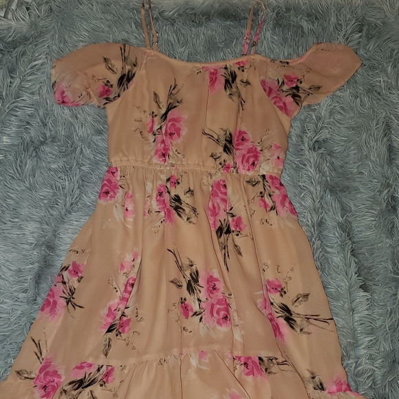 Pink Floral Off-the-shoulder Dress